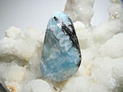 Aurichalcite blue white gemstone cabochon pendant or bead for jewelry making