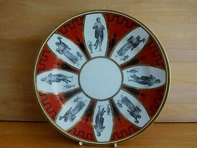 Antique Chamberlin Worcester Porcelain  Plate With Bat Printed Classical Figures