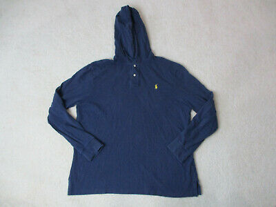 Ralph Lauren Polo Hoodie Sweater Adult Extra Large Blue Yellow Pony Hooded Mens
