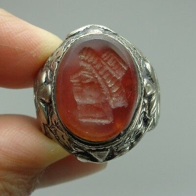 Silver Ring Old Stone  Solid Emperor Beautiful Ancient Intaglio Agate Face Rare