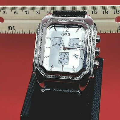 Collectible Rare Vintage Designer GAB Men Watch with Real Diamonds Fine Jewelry