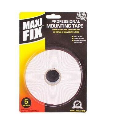 3x Heavy Duty Double Sided Strong Mounting Tape 24mm x 5m White Car / Home
