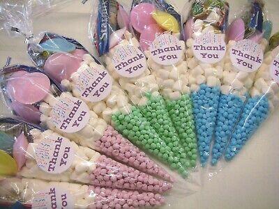 10 Thank You Pre Filled Sweet Cones Childrens Birthday Party Bags Gift Favours
