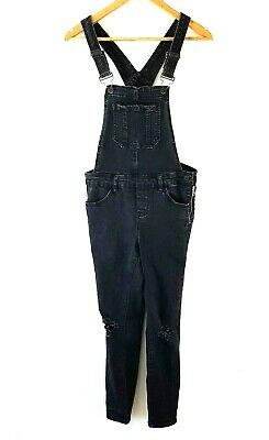 New Look Denim Dungarees Ripped Black Skinny Stretch Jeans Size 8 Overalls