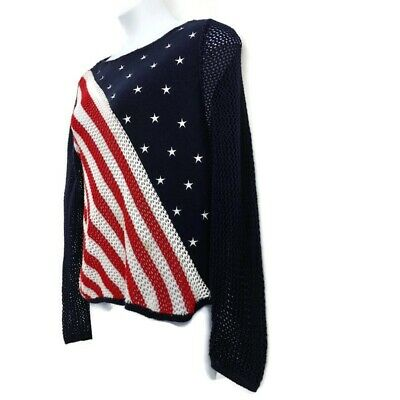 Norton Sweater American Flag Knit Red White Blue Embroidered Stars Womens Size L
