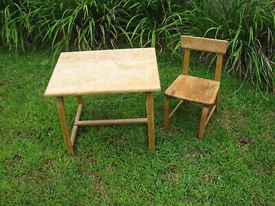 Vintage Wood Child's Table Desk & Chair -The Delphos Bending Co. Ohio