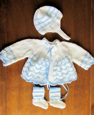 baby blue and white matinee set new 0 to 3  hand knitted coat hat boots mitts