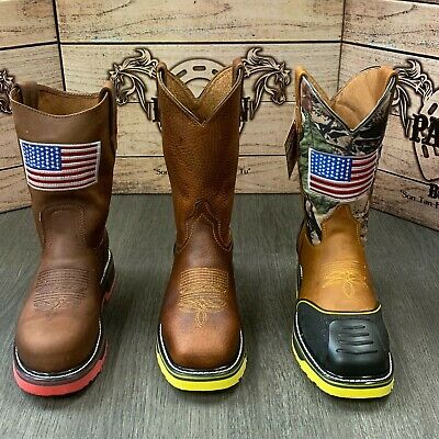 Men's Work Steel Toe Boots American Flag Style Soft Leather Inside Shaft Safety