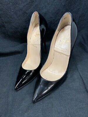 the best attitude 839bf 3403f CHRISTIAN LOUBOUTIN SO Kate 120 Black Patent Leather Pumps Size 37.5