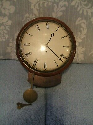 Antique 10 Inch Dial Fusee Drop Dial Wall Clock