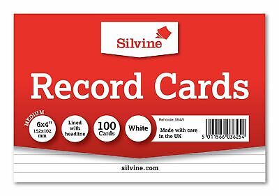 "Silvine Record Cards Ruled 6"" X 4"" (152 x102 mm) Revision card - White"