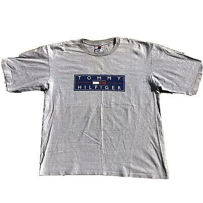 Men's VTG 90's Tommy Hilfiger Spell Out Grey T-Shirt Sz XXL