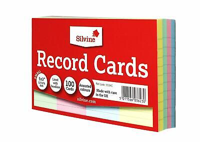 """100 Revision Presentation Record Cue CARDS DOUBLE SIDED LINED 5 x 3"""" Coloured"""