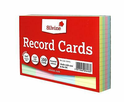 "Pack of 100 Record Cards Ruled 6"" x 4"" Assorted Colours - Revision Index Cards"