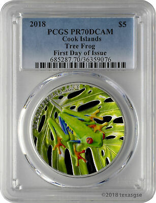 2018 Cook Islands Tree Frog 1 oz  Silver Colorized Proof Coin PCGS PR70 DCAM FDI