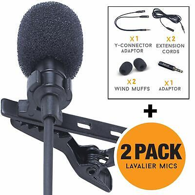 Lavalier Lapel Microphone 2-Pack Complete Set - Omnidirectional Mic