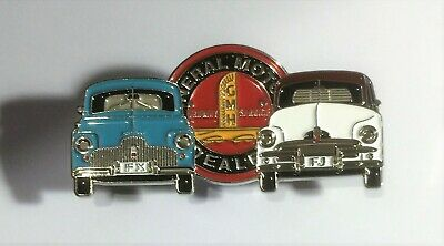 FX, FJ Holden Duo Quality Metal Car Badge, Hat Pin, Lapel Pin, 2 clutches Blu/Wh
