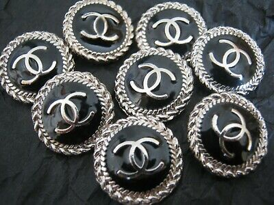 CHANEL  8 AUTHENTIC BLACK  SILVER cc 14 MM BUTTONS THIS IS FOR 8