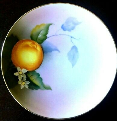 "Antique Noritake  Porcelain  Plate Hand Painted ""Blooming Orange"" Japan"