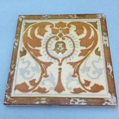 Beautiful Art Nouveau Ceramic Washstand Fireplace Vintage Tile