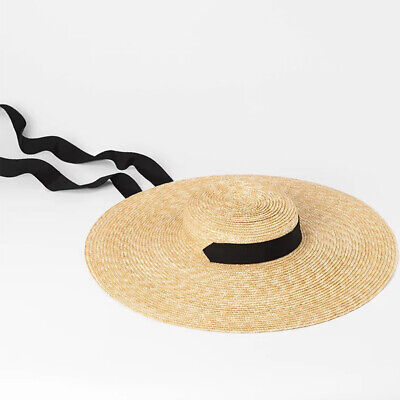 Women Travel Wide Brim Casual Summer Sun-Hat Ribbon Tie Flat Wheat Straw Beach