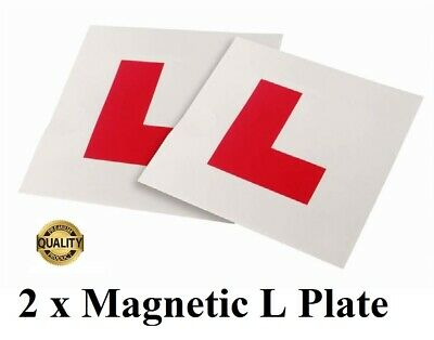 2 x UK FULLY MAGNETIC L PLATES SECURE Learner plate quick Fix Learner Sign