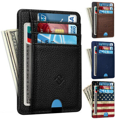 Mens RFID Blocking Leather Minimalist Pocket Wallet Credit Card Holder Case