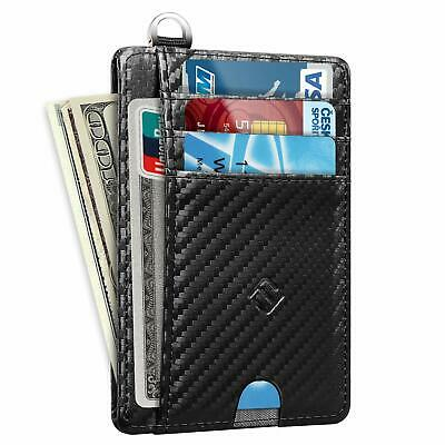 Mens RFID Blocking Leather Minimalist Small Wallet Credit Card Slots Holder