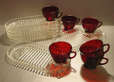 Anchor Hocking Serva Snack Set For SIX Oval Clear Ribbed Trays Ruby Cups