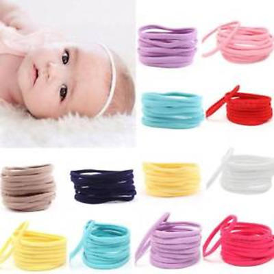 10pcs Kids Baby Girls Elastic Headbands Nylon Headwear Hairband Womens Headdress