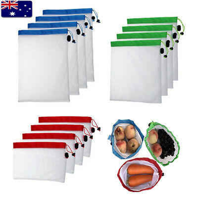 15 20x Eco Friendly Reusable Mesh Produce Bags Superior Double-Stitched Strength