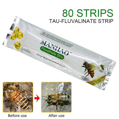 80 Strip Tau-Fluvalinate Strip Bee Mite Varroa Killer Beekeeping Medicine BE