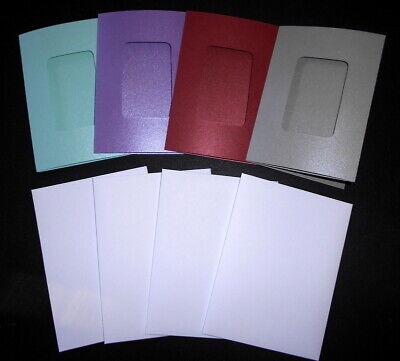 DIY Greeting Card  - Handmade SHIMMER RECTANGLE WINDOW CARDS x 4  + ENVELOPES