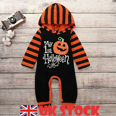 Newborn Baby Girls Boys My 1st Halloween Hooded Romper Jumpsuit Pumpkin Costume
