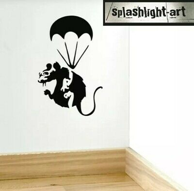 Banksy Large 17cm Rat /& Umbrella Skirting Board Vinyl wall Decal sticker