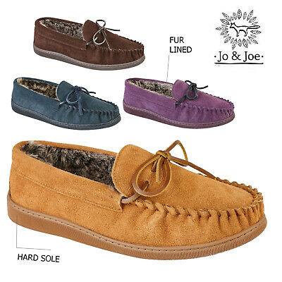 Mens Leather Suede Moccasin fur Lined Slippers Winter Warm Shoes sizes 7-12
