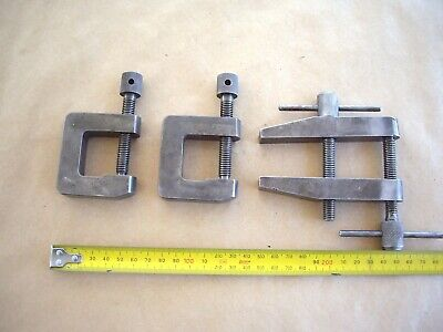 2 Vintage Small Size G Clamps And A Engineers Clamp All Tech. College Projects.