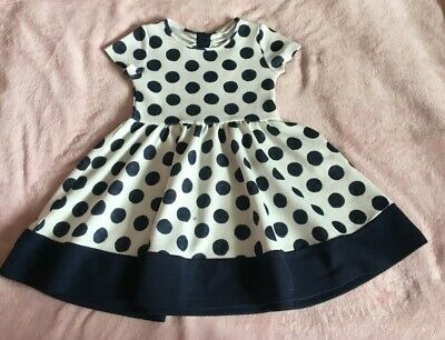 H&M Baby Girls Polka Dot White Navy Spring Summer Party Dress Age 2-  4 Years