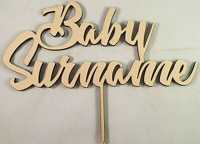 "Personalised LaserCut Wooden ""Baby+Name""Baby shower,Birthday,Baptism,Christening"