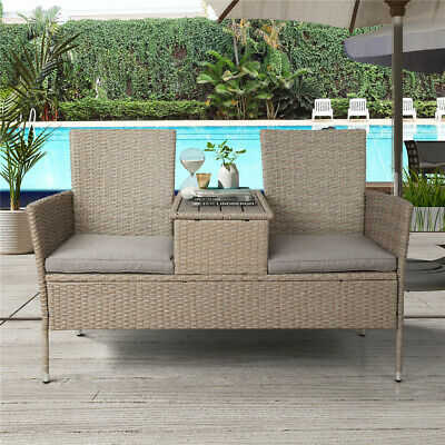 Rattan Wicker Furniture Set 2PC Cushioned Outdoor Garden Seat Patio Sofa Chair