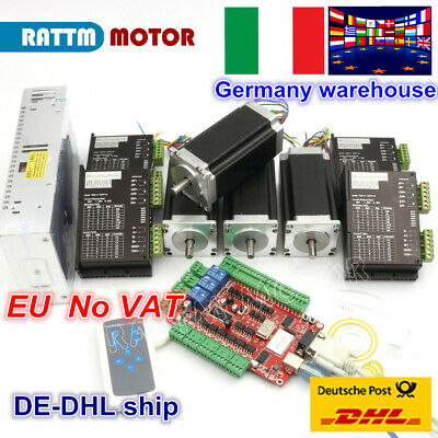 【EU Stock】4 Axis USBCNC Stepper Motor Nema 23 Dual Shaft 425oz-in&Driver CNC Kit