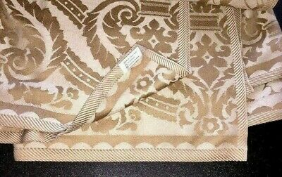 ~ Quality Light Gold & White Scrolled Rectangular Buffet Tablecloth Heavyweight