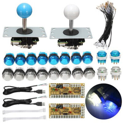 Zero Delay USB Encoder 2-Player Arcade Game Kit W/ 2 Joystick 20 LED Push Button