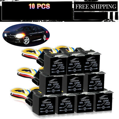 10 Pack 5Pin 40A 12V Relays with 5 Pin Harness Sockets fit 2010 Ford Escape