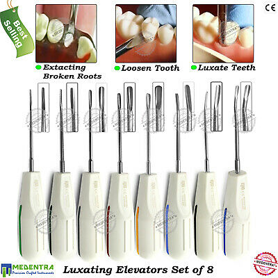 Set of 8 Dental Tooth Broken Extraction Luxating Extracting Elevators Medentra®