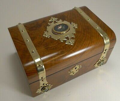 Antique English Burl Walnut Jewellery Box - Brass & Pietra Dura Mounted c.1860