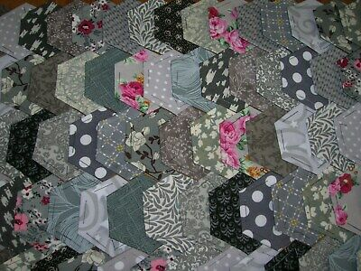 Fabric Hexagons X 100 Tacked To Paper Template Epp Multi  Grey  Sept