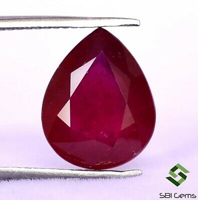 3.17 Cts Natural Ruby Pear Cut 10x8 mm Faceted Deep Red Shade Loose Gemstone GF