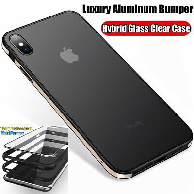 Luxury Metal Tempered Glass Case Cover For Apple iPhone X XS XR Max 10 8 7 6s 6