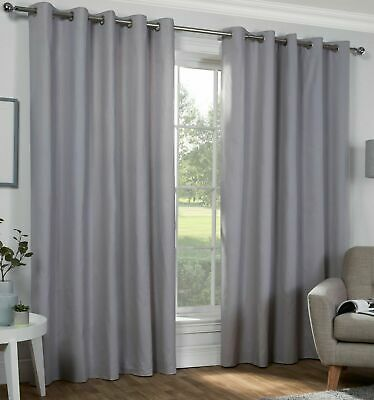"""Thick Thermal Curtains Light Grey PAIR : Eyelet Ring Top + Tie Backs 52"""" x 84"""""""